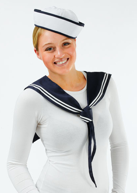 Sailor girl fancy dress 2 piece kit hat and scarf navy uniform ebay
